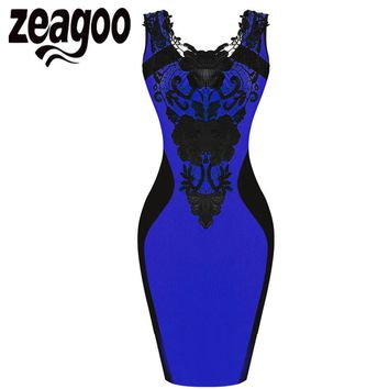 Zeagoo OL Dress Mini Sleeveless Lace Pencil Dress High Waist Floral Slim Short Bodycon Party Dress Women Work Wear Vestidos