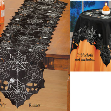 Spiderweb Halloween Table Linens
