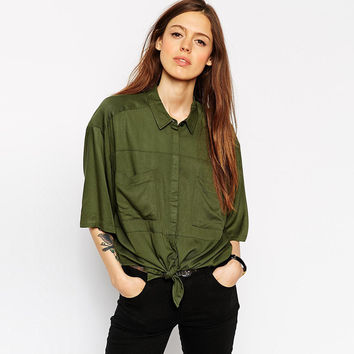 Green Double Pocket Tying Blouse with Sleeve