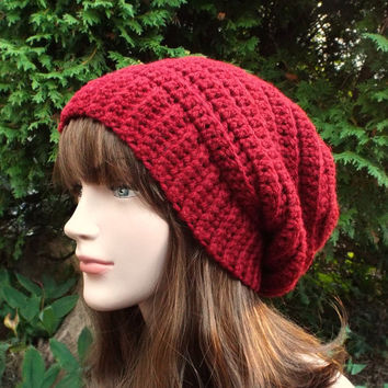 05c64662ad6 Cranberry Red Slouchy Crochet Hat - Womens Slouch Beanie - Oversized Ribbed  Cap - Chunky Hat