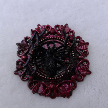 black and red cameo spider brooch pin - halloween, goth, gothic