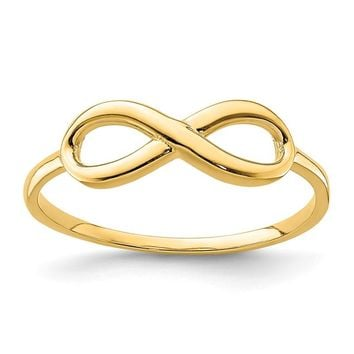 14k Yellow Gold Solid Infinity Ring