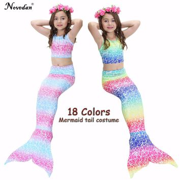 Children Mermaid Tails The Little Mermaid Ariel Swimsuit Bikini Set Summer Bathing Suit Party Cosplay Costume For Girls 2018 New