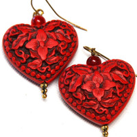 Valentines Day Cinnabar Earrings  Etched to Perfection