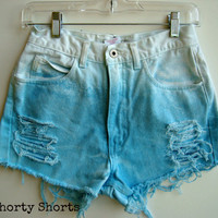 High Waisted Shorts Dip Dyed Blue Ombre Distressed Shorts Summer Clothing