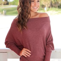 Maroon Knit Off Shoulder Top