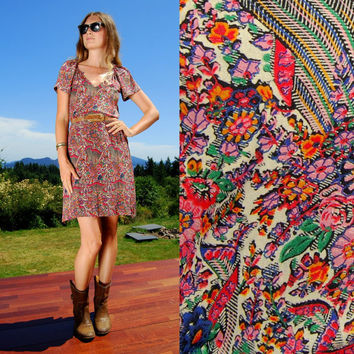 Vintage 70's Dress By Shawn Originals, Paisley Floral Ethnic Dress, Gauzy Dress, Boho Dress, India Gauze Dress, Short Sleeve Shift Dress