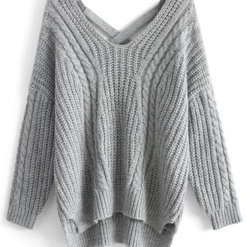 Sunny Afternoon V-neck Sweater in Grey