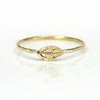 Melanie Casey - 14K Gold Leaf Stacking Ring