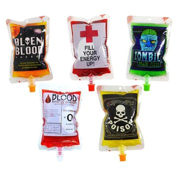 250ml Transparent Clear Medical PVC Blood bags Material Reusable Blood Energy Drink Bag Halloween Vampire Pouch Props