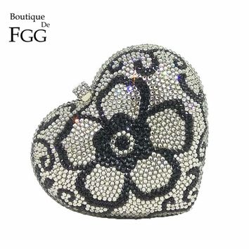 Boutique De FGG Dazzling Silver Rhinestone Wedding Heart Flower Handbag Purse Women Crystal Evening Bag Party Minaudiere Clutch