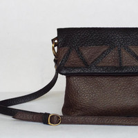 Black brown leather crossbody bag. Foldover cross body purse. Leather applique bag.