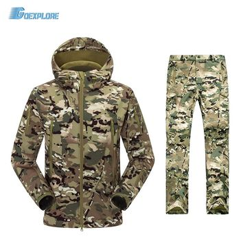 TAD V4.0 Camouflage Shark Outdoor Waterproof Hiking Jacket Suit Men Army Hunting Set Military Hoody Softshell Jacket and Pants