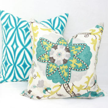 "Turquoise & white decorative pillow cover. 18"" x 18"". 20"" x 20"". 22"" x 22"". 24"" x 24"" .26"" x 26"" euro sham. lumbar sizes."