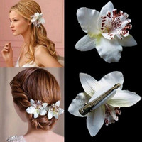 New hot, Girls Bohemia women wedding leopard orchid flower hair clip clips hairpin hair ornament beach Hairpins