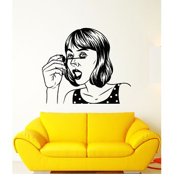 Vinyl Wall Decal Pop Art Cartoon Girl Face Makeup Stickers (3264ig)