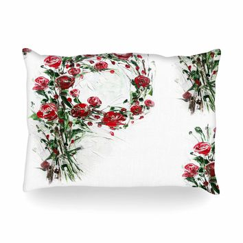 """Maria Bazarova """"FLoral Monogram P"""" Red Green Floral Nature Painting Digital Oblong Pillow"""