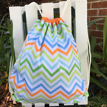 Personalized Backpack,Kid Bag,Waterpoof Lining,Handmade Bag,Monogrammed,Chevron Print Bag,Eco Friendly Bag,Wet Bag,Overnight bag
