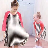Mommy and Me Striped Coral Tunic Dress