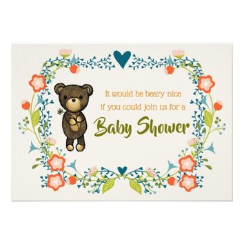 Cute Bear with Floral Wreath Baby Shower Card