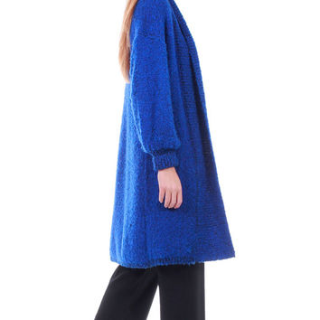 80s Vintage Royal Blue Duster Cardigan Sweater Textured Midi Long Oversized Minimalist Grunge Hipster Retro 90s Clothing Womens Size XL