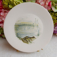 Marcel Guillot French France Pottery Plate Hand Painted Signed Frog Theme #2