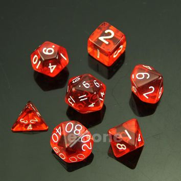 hot 7 Red Sided Die D4 D6 D8 D10 D12 D20 MTG RPG D&D DND Poly Dices Board Game Chess