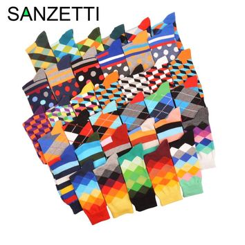 SANZETTI 5 pair/lot Funny Pattern Bright Colorful Men Socks Argyle Oil painting Dot Striped Combed Cotton Crew Socks Wedding