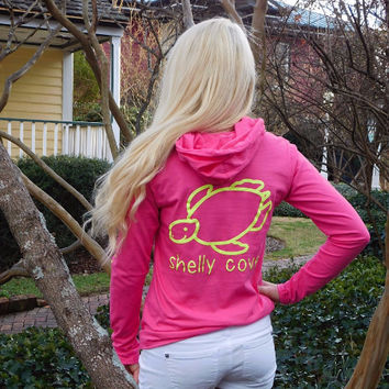 Hot Pink Lightweight Hooded Tee with Yellow Neon Signature Turtle and Arm Imprint