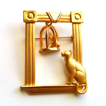 Vintage Cat and Bird Brooch Signed JJ Jonette Jewelry Birdcage Cage Frame Kitten Kitty Pet Animal Lover Whimsical Pin