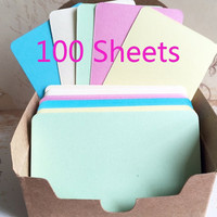 colorful card stock set of 100 yellow ivory green blue pink card Black cardstock tag Price tags embossed paper gift tag product tag label
