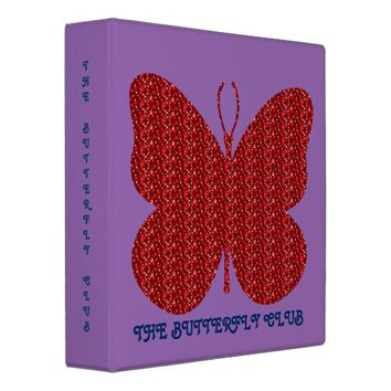 Red Glitter Butterfly 3 Ring Binder