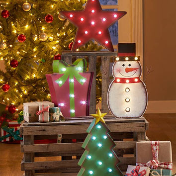 Christmas Holiday Marquee Lighted Sculpture Metal Snowman Tree Star Gift Box