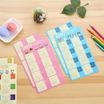 Creative Year 2017 Mini Calendar Stickers Decorative Diary Stickers Index Lable Sticker DIY Planner Bookmark Sticker 2 sheets