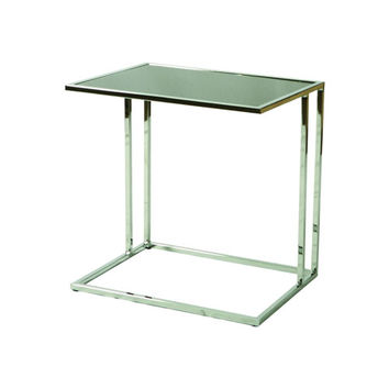 Pastel Furniture QLNW435792214 Norway Black Glass Top End Table with Chrome Legs
