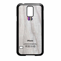 Apple Logo On White Wood Colorful Samsung Galaxy S5 Case