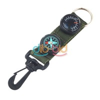 Mini Compass Thermometer With Hook Onto Belt Loop Backpack Hiking Camping ER