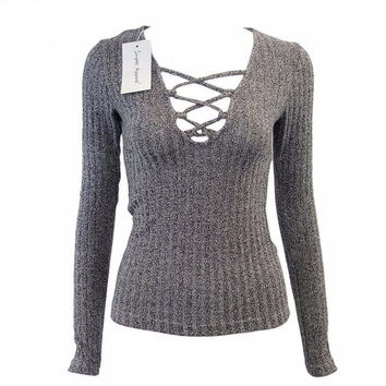 Charcoal sexy v neck sweater
