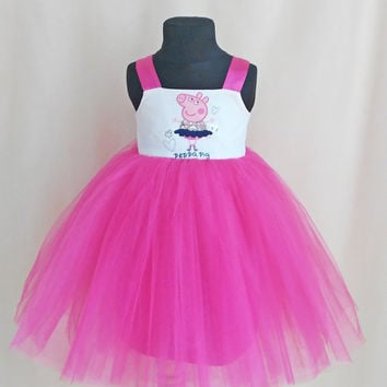 Soft Pink Tulle Peppa Pig Ballerina Dress, Birthday Dress With Peppa Pig, Peppa Pig Outfit