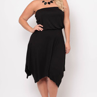 Plus Size Strapless Sharkbite Dress - Black