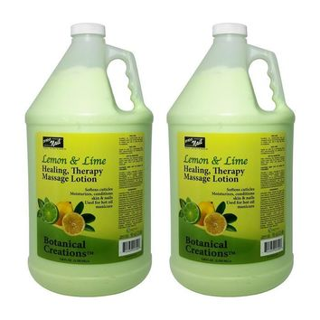 ProNail Lemon & Lime Healing, Therapy Massage Lotion 1 Gallon (Pack Of 2)