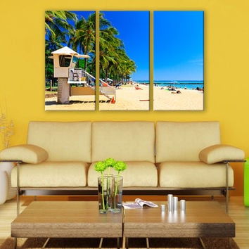 Hawaii Beach Palms Portrait Canvas Print 3 Panels Print Wall Decor Fine Art Photography Repro Print for Home and Office Wall Decoration
