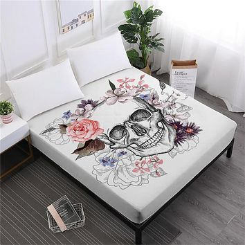 Sugar Skull Fitted Sheet Floral Rose Print
