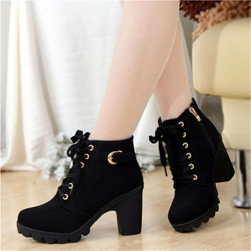 Women's Short Boot Thick Heels Wild Black Matte Female Shoes Platform Combat Boots = 1946785156