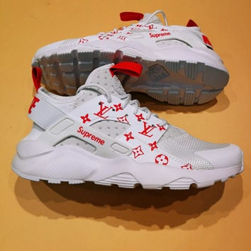 Nike Air Huarache Supreme Lv White Red Fashion Women Men Casual Running  Sport Shoes 070dd30a68