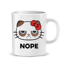 hello kitty grumpy cat nope design for Coffee Mug,Funny Coffee Cup, Quote Mug, Funny Mug - VEROATTACK