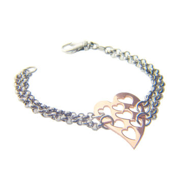 Italian Full of Heart Rose Gold Plated Sterling Silver Bracelet, 6.5""