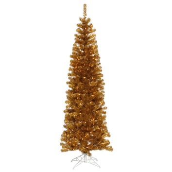 9' Pre-Lit Antique Gold Artificial Pencil Tinsel Christmas Tree - Clear Lights
