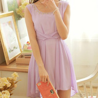 Light Purple Sleeveless Chiffon Dress