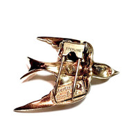 Coro Craft Sterling Flying Swallow, Sterling Silver Fur Clip, Figural Bird, Vintage 1940s, Clear Pave Rhinestone, Signed, Coro Jewelry